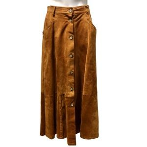 Vintage brown leather maxi skirt